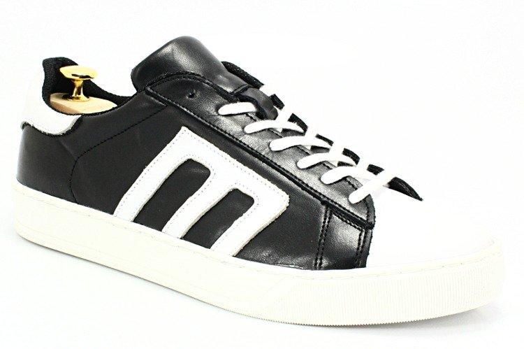 KENT 293M CZARNY BIAŁY Skórzane buty sportowe