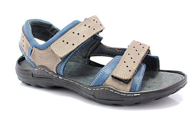 7a0d3ddf5a9c KENT 295 SZARY-NIEBIESKI - Męskie sandały skórzane BUTY MĘSKIE ...