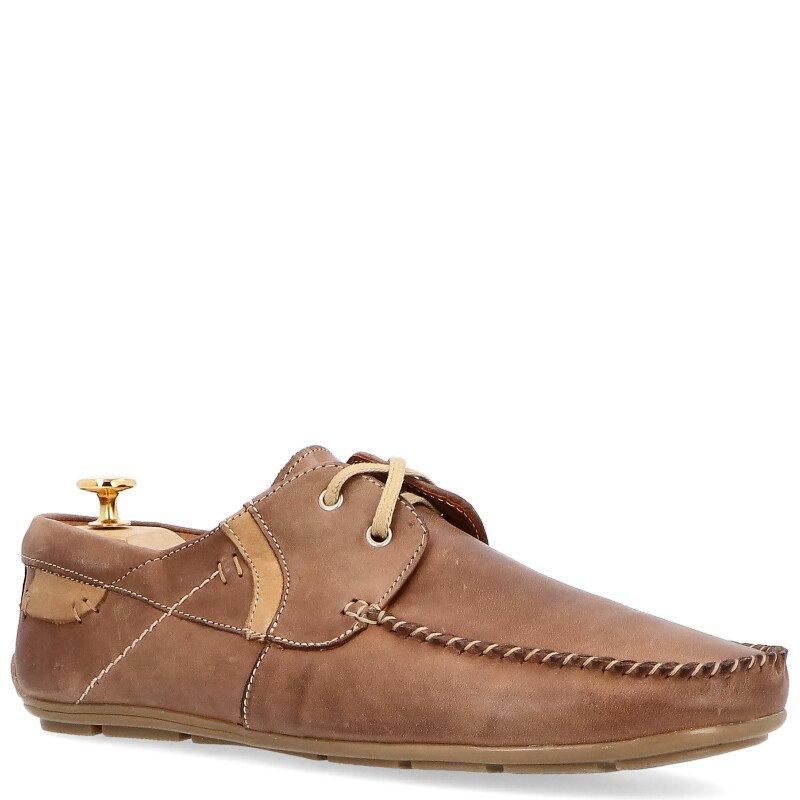 buty męskie sznurowane brązowe skŏra