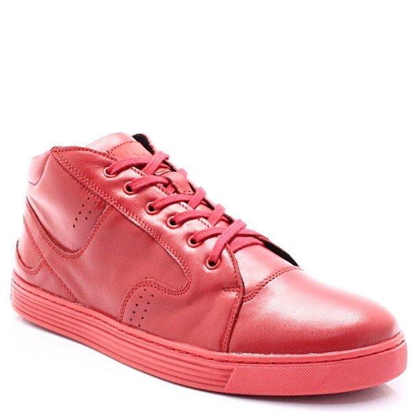 a9f237165e358 KENT 303 CZERWONE - Zimowe buty męskie, skóra Kliknij, aby powiększyć