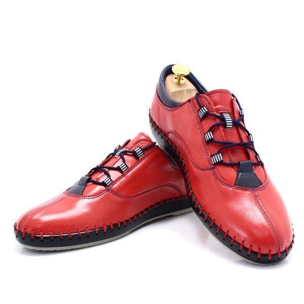 KENT 312 CZERWONE Miękkie buty ręcznie szyte