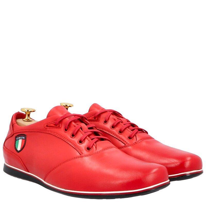 KENT 511I CZERWONE Skórzane buty męskie sportowe casual Czerwony