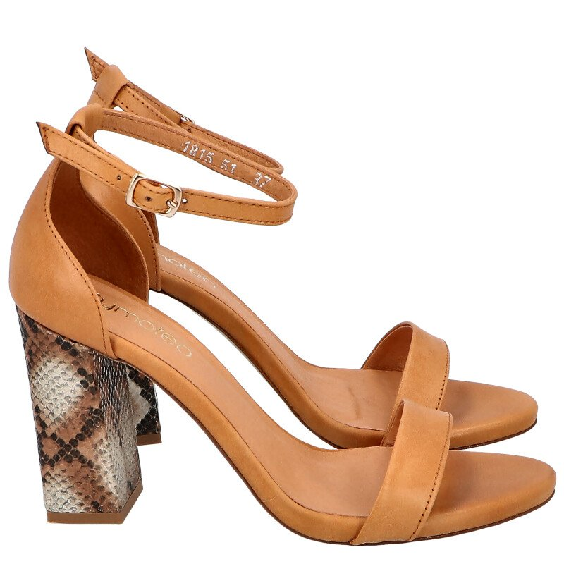 1815 karmelowe sandały na modnym słupku brązowy   beżowy, Tymoteo