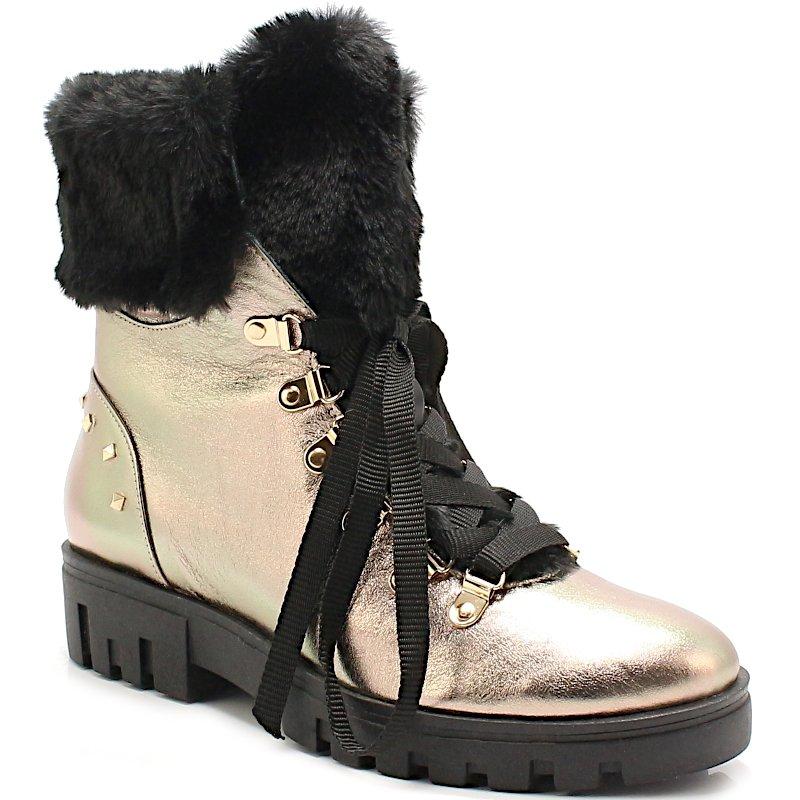 buty zimowe damskie czarne z zlotym