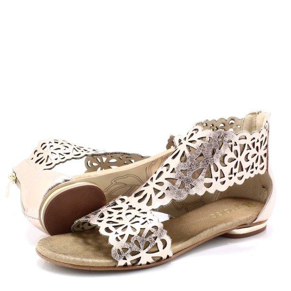 TYMOTEO 2699 ZŁOTE Płaskie sandały ażurowe