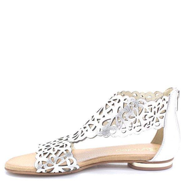 2699 SREBRNE Płaskie sandały ażurowe Srebrny (TYMOTEO)