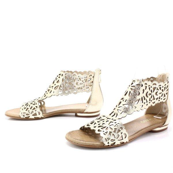 2699 złote płaskie sandały ażurowe złoty, Tymoteo ceny